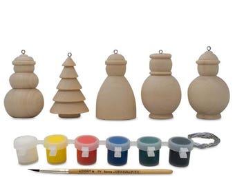 "2.25"" Set of 5 Blank Wooden Snowman, Christmas Tree & Santa Christmas Ornaments"