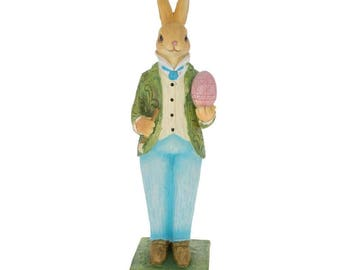 "11"" Bunny Father Decorating Egg Easter Figurine"