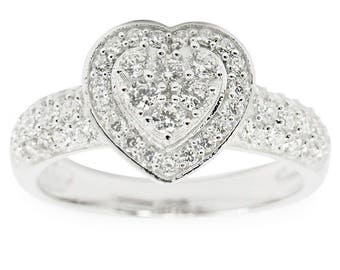 Crystal Heart Sterling Silver Women's Ring (Size 7)