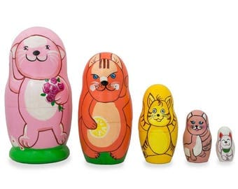 "4.25"" Set of 5 Cats and Kitties Wooden Nesting Dolls"