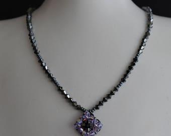 Swarovski crystal necklace small rhombus hematite 2x-violet ab