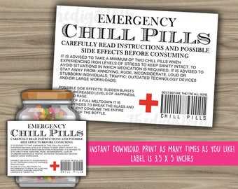 Chill Pills Printable Label - Funny Gift - INSTANT DOWNLOAD - Christmas Gift For Boss - CoWorker - Work Office Gag Gift - PL10