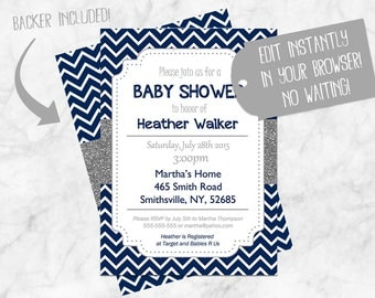 Blue Chevron Baby Shower Invitations, Boy Baby Shower Invitation Navy Blue Gray Silver, Glitter Boy Baby Shower Invitations