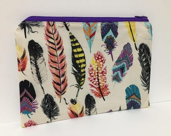 Zipper Pouch, Pencil Case, Make Up, Gift, Teacher Gift, Bridesmaid gift, Nappy Bag, Bag Organiser,Cosmetic bag, Feather pouch, Boho pouch
