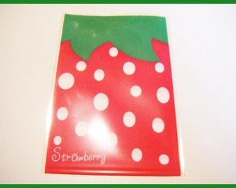 Gift wrapping bags-set of 10 plastic Strawberry strawberry