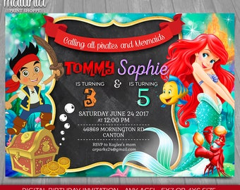 Little Mermaid Jake and the Neverland Pirate Joint Birthday Invitation - Disney Ariel Jake Sibling Birthday Printed or Printable Invitation