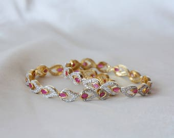 Set Of Two 2.6 Size Cz And Ruby Bangles / Cz Bracelet / Indian Bangles / Indian Wedding / Cz Kada Jewelry / Gift For Her / Bridal Bangles