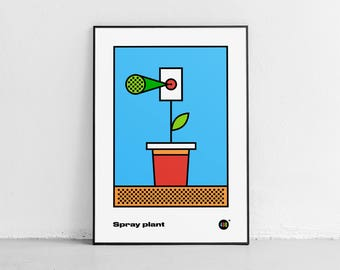 Spray plant. Wall art. Original poster. High quality giclée print. signed by designer.