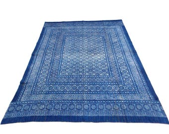 Floral Design Indigo Handmade Kantha Throw Bedspread Reversible Vintage Quilt in Blue Color