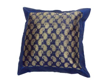 Indian Silk Cushion Cover Home  Embroidery Work Decorative Blue Color Size 17x17""