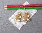 Earrings christmas ti'biscuit, earrings small biscuit gingerbread in polymer fimo, earrings christmas theme, gingerbread man