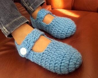Slippers -  mocassins, handmade blue and white