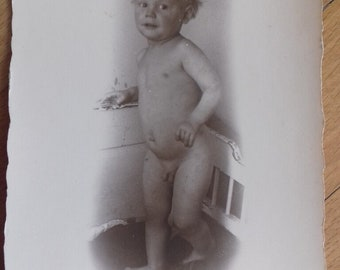 Vintage photo naked baby child from 20s