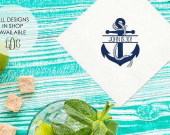 Nautical Anchor Birthday Party Napkins, Birthday party napkins, birthday party decor, custom boat napkins, gold foil napkins