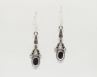 Black Onyx Earrings~Silver Black Onyx Drop Earrings~Ornate Black Onyx Earrings~Black Onyx Jewelry~Oval Black Onyx Drop Earrings~Gift for Her
