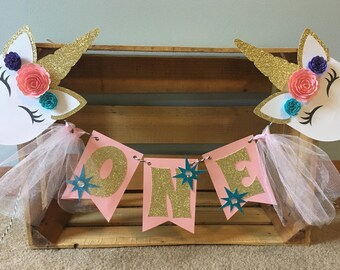 Unicorn High hair Banner | Unicorn Party Decorations | First Birthday | Pink Gold Purple Blue