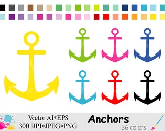 Anchor Clip Art, Nautical Clipart, Rainbow Anchor Planner Stickers Clipart, Instant Digital Download Vector Clip Art