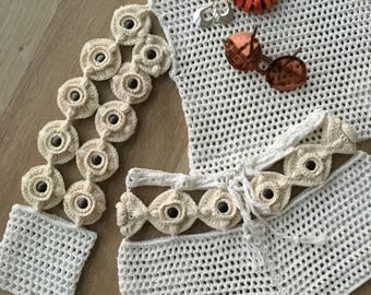 Cotton crochet shirt and shorts,summer clothing,womens clothing