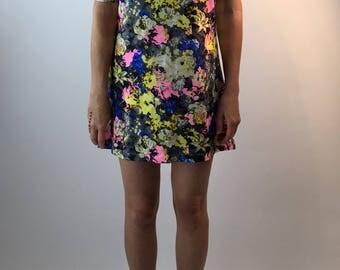 1960's Neon Floral Mod Mini Dress