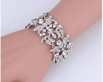 Bridal Bracelet, Silver Crystal Wedding Bracelet, Silver Bracelet, Silver Wedding Bracelet, Silver Bridal Bracelet
