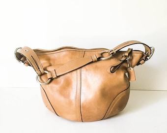 Coach Handbag - Coach Hobo bag - Coach purse - Caramel brown leather purse - Caramel Coach bag