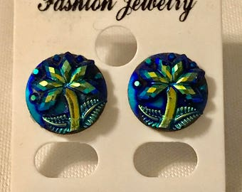 Handmade Round blackish blue Palm Tree stainless steel stud Earrings