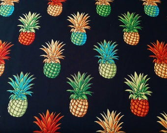 Pineapple Fabric in Rainbow colors on Black, 100% cotton poplin, Hawaiian aloha material, by the half yard or yard