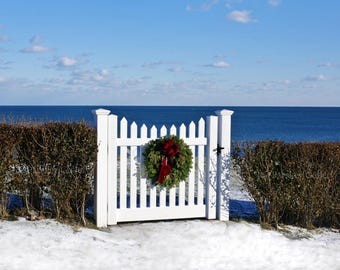 Gate on Third Cliff, with December wreath, Scituate, MA, South Shore, charming, coastal, cottage decor, beach decor, archival, signed print