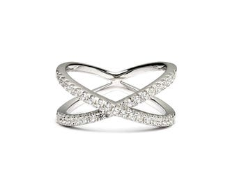 Lady sparkle • crossover ring • cubic zirconia silver