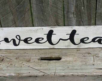 Sweet Tea Fixer Upper Magnolia Market Style Rustic Wood Farmhouse Kitchen Sign