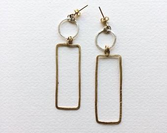 Long geometrical golden & silver earrings/ Amazing contemporary brass eartings