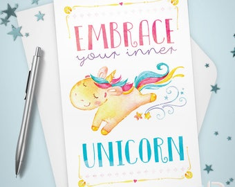 Greeting Card, Embrace Your Inner Unicorn Stationery, Note Card, Whimsy, Inspirational, Thinking of You, Encouragement, Watercolor