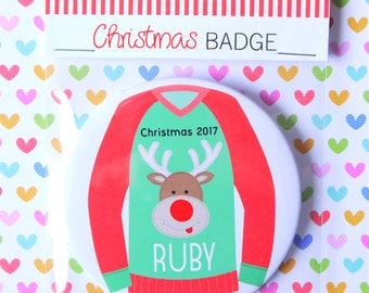 Personalised Reindeer Christmas Badge, Stocking Filler
