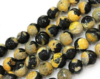 "8mm Yellow Flaming Faceted Jade Beads ,Semiprecious Stone Beads , Round Agate Beads , Jasper Beads ,Gemstone Beads, 16"" Strand VIN0099"