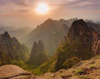 Panoramic Wall Art Photography, Huangshan Sunset, China Photography, Forest Mountain Photo, Wall Art Print, 10x20, 12x24, 16x32, 20x40