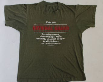 Vintage 80's National Guard US Army Military Tee Shirt, Size Small