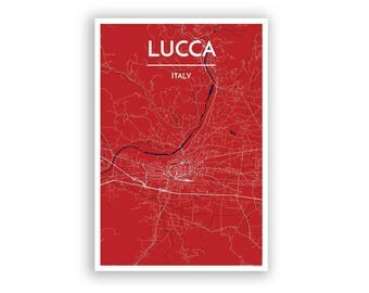 LUCCA, Italy, City Map Print // modern minimalist art design home office decor, map part, map poster, any custom city print