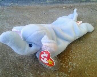 Peanut Beanie Baby, light blue 1995 no stamp, Beanie Babies Ty plush stuffed plushie elephant stuffed animal, third generation mint toy toys