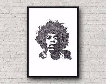Jimi Hendrix Zentangle A4 Art Print