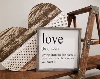 Love Sign | love Quote Sign | Wood Sign | Framed Sign | Wall hanging | Quote Sign |  Rustic Sign | Farmhouse Style Sign | Gift Under 50