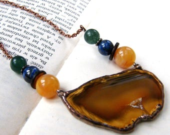 Stone Necklace with agate: brown, Agate Necklace, Gemstone Necklace, Agate Pendant, gift for her, for a woman, for grandma, Witrazka