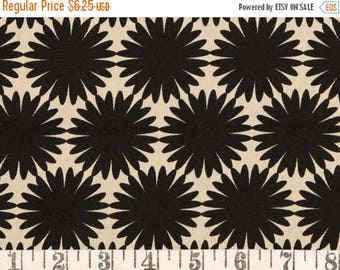 """20% Off Stylized Bloom in Black on Ecru by Confetti Fabrics, For Dresses and Tops - 100 Percent Viscose Rayon Crepe 58"""" Wide - Half Yard"""