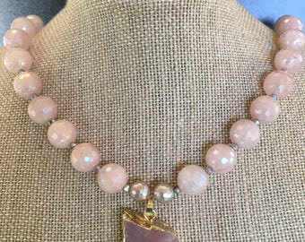 Beaded gemstone necklace in Rose quartz, grey mother of pearl faceted 8mm beads, natural raw Rose quartz pendant. Pyrite & 14k gold fill.