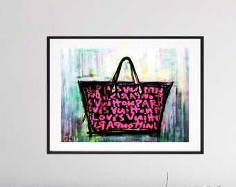Louis Vuitton Graffiti Bag Modern Art - Shabby Chic - Urban - Pop Art - signed - Fashion - Paris - Art Deco St. Bam