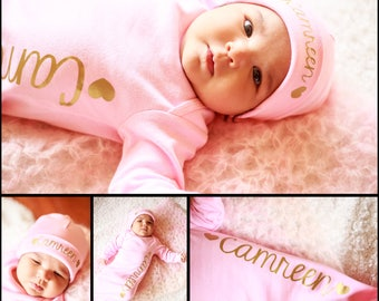 Coming home outfit newborn Personalized  girl hospital outfit - Newborn photo prop Top selling items- Hat sold separate