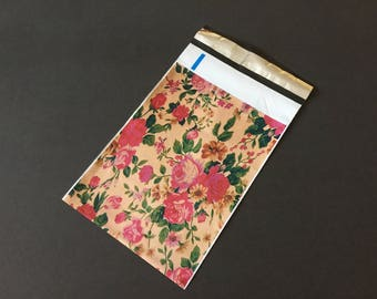 50 Designer 6x9 VINTAGE ROSES Poly Mailers 10x13 Envelopes Shipping Bags