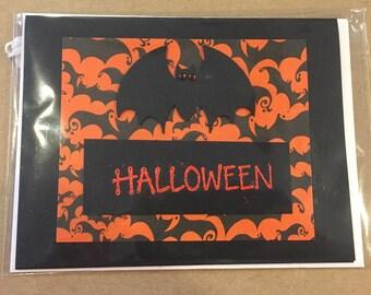 Handmade Halloween Orange and Black Bat Greeting Card
