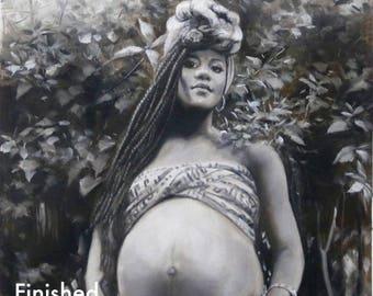 Custom Pregnancy Portrait Oil Painting. Pregnancy Gift. Push Present. Baby Shower Gift. New Mom Gift. Nursery Wall Art. Nursery Decor.