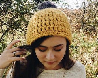 goldenrod gray pompom crocheted beanie