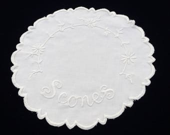 Round Doily. Scones Basket Doily. Vintage Linen Doily. Vintage White on White Hand Embroidered Linen Doily with Scalloped Edge. RBT2248
